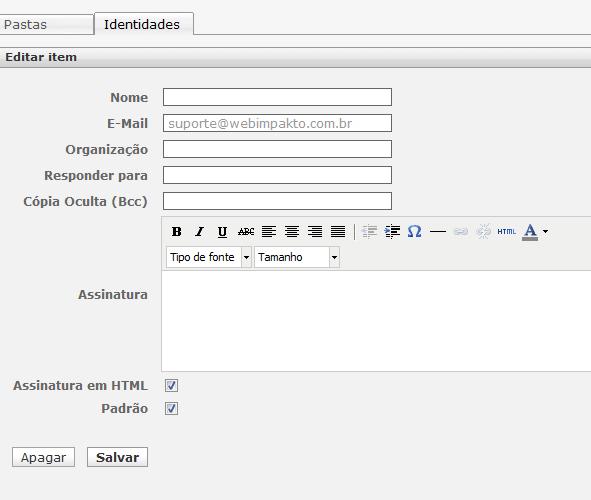 Webmail - RoundCube - Editar Assinatura