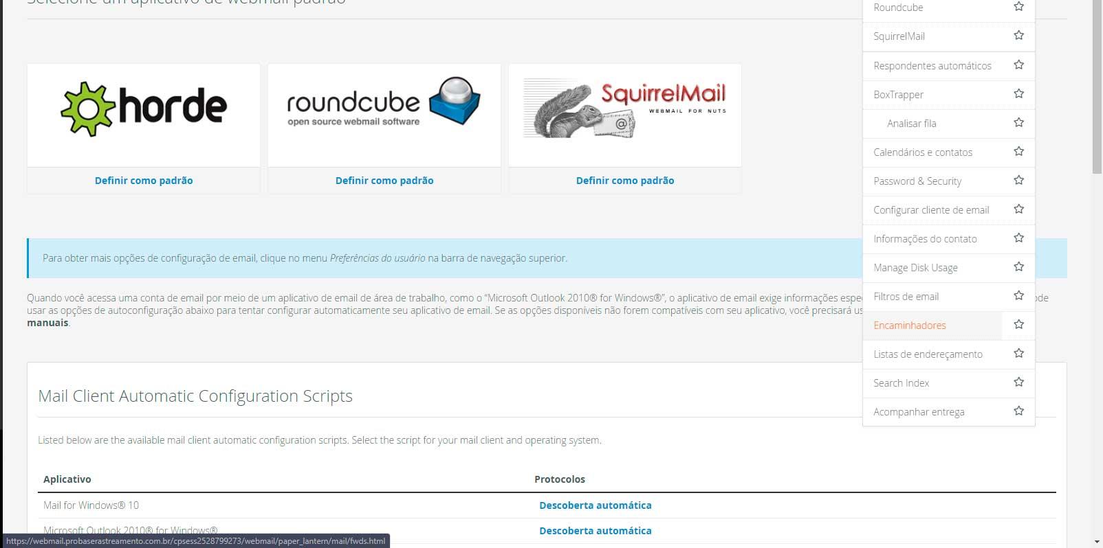 Webmail - Redirecionamento de emails - Passo 1